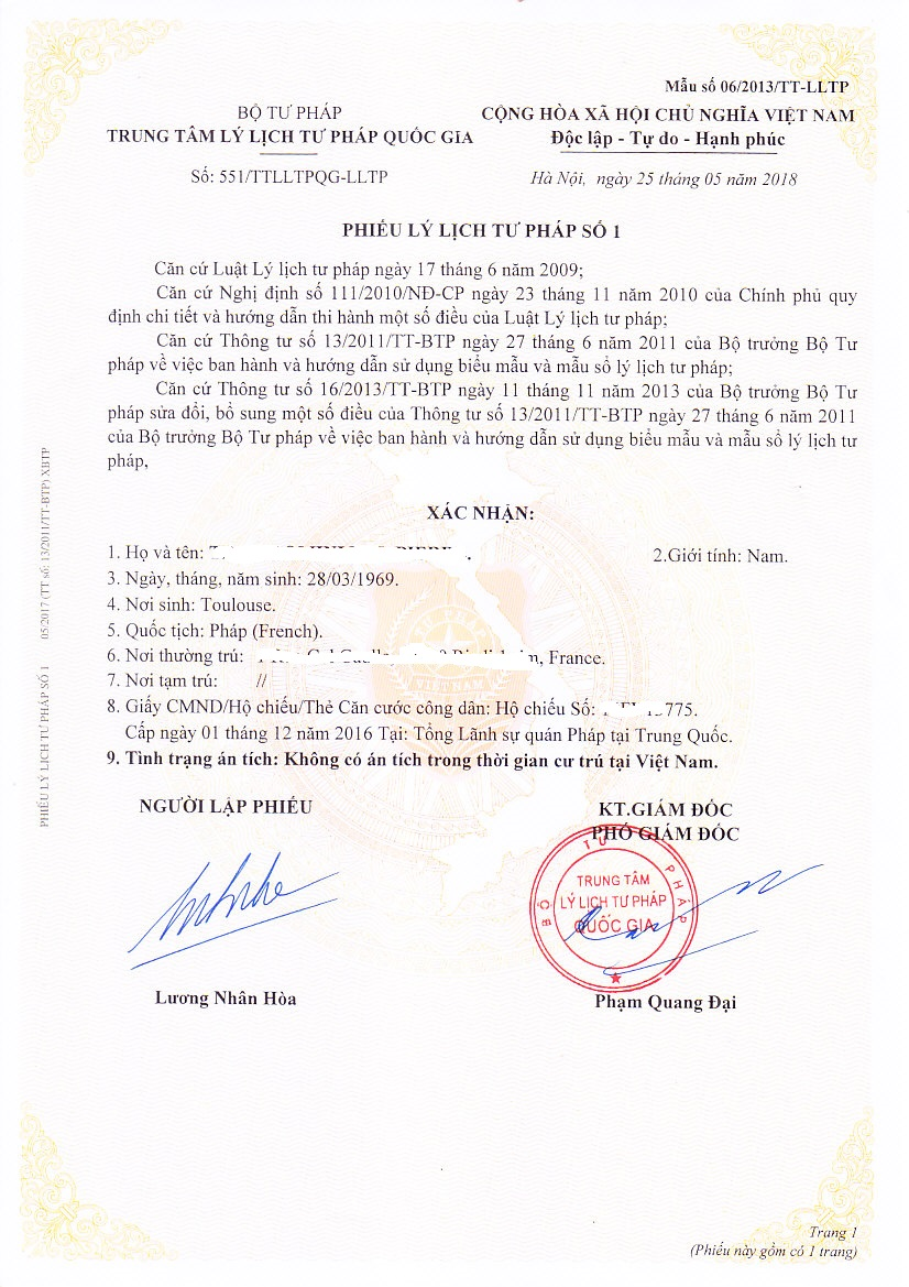 Criminal Record Certificate From Vietnam Form Or Form News - Law form